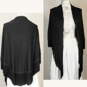 Vintage 1950s black with fringe scarf.